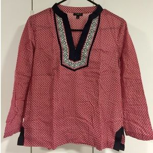Tops - Talbots Red & Navy Blue Pattern Tunic Blouse